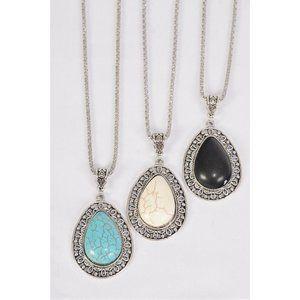 Metal Antique Teardrop Semiprecious Stone Necklace